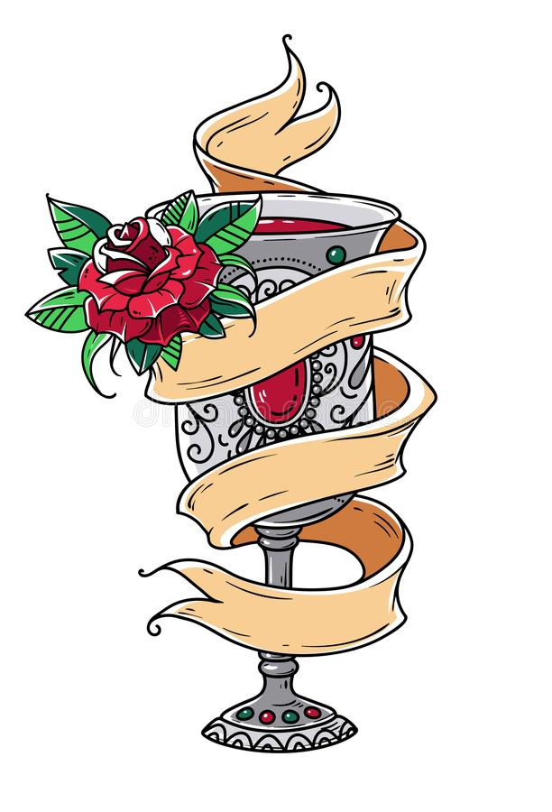 Ancient silver goblet with red wine and red rose. Symbol of grace, of enjoying life. Symbol of spiritual purification. Old school style vector illustration