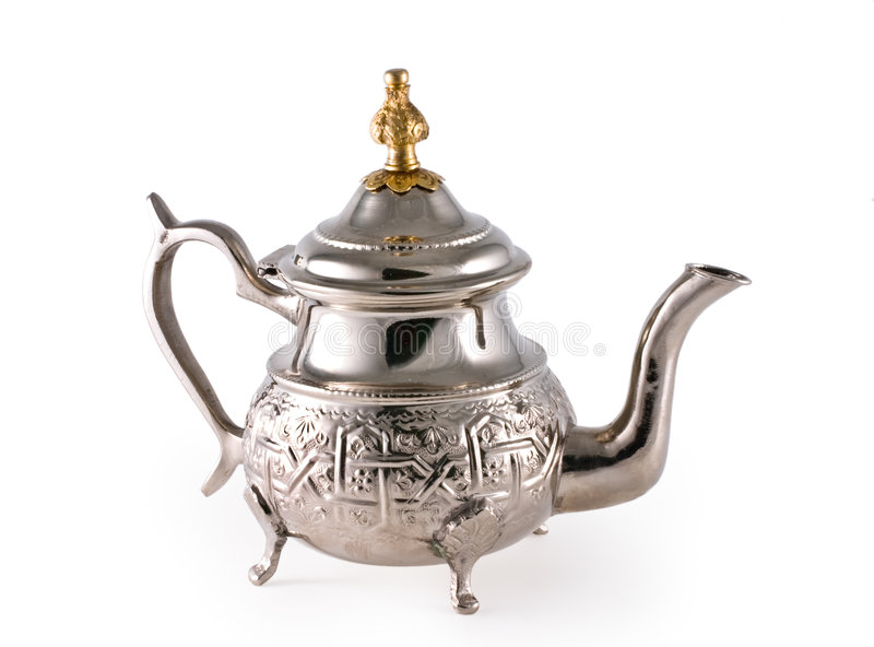 Ancient silver teapot stock photography