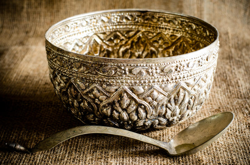 Ancient Silverware. On brown sack royalty free stock photos