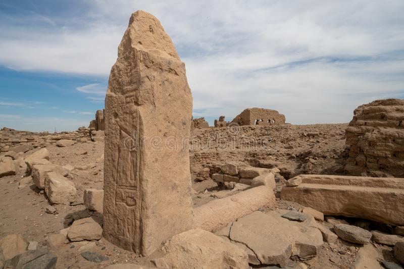 Egyptian hyroglyphs on an archaeological site in the Sudan. The ancient sites on this island can be easily reached by boat from Abri stock images