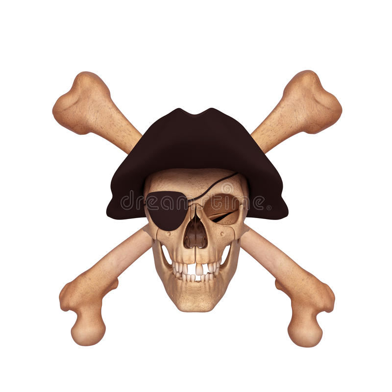 Download Ancient Skull With Two Bones And Black Cap Stock Illustration - Illustration: 26538843