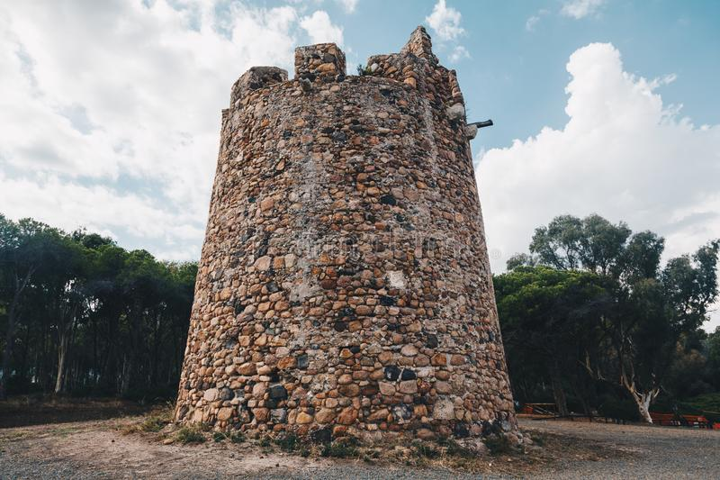 Ancient spanish tower fortification in Sardinia (santa margherita). Ancient spanish tower fortification in Sardinia santa margherita 1 stock images