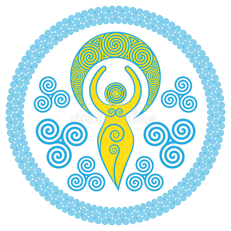 Ancient Spiral Goddess: This delicate Goddess represents the creative powers of the Divine Feminine, and the never ending circle o stock illustration