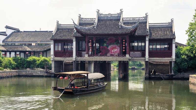 Ancient stage on the water. At Xitang of China stock photography