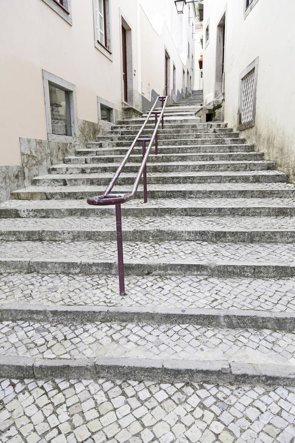 Free Ancient Stairs On A Street In Lisbon Royalty Free Stock Images - 44654709