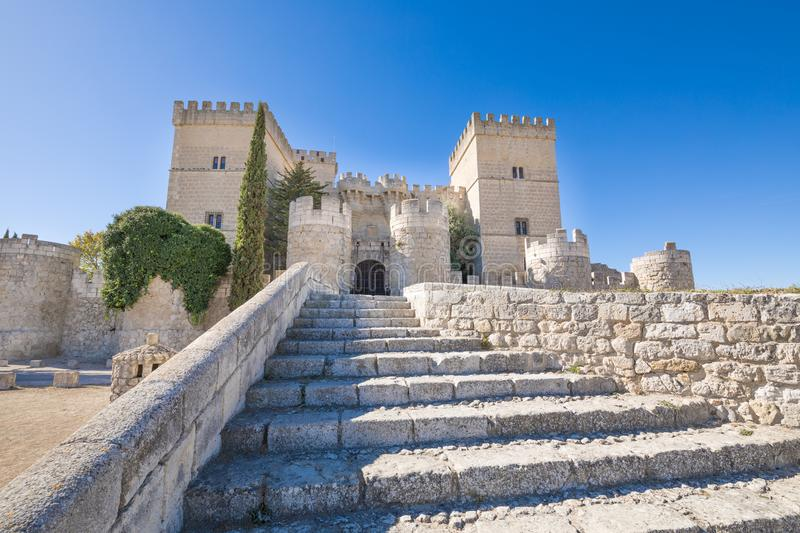 Ancient stairs to the castle in Ampudia stock photo