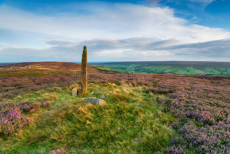 An ancient standing stone on Blakey Ridge. On the North York Moors National Park in Yorkshire royalty free stock photo