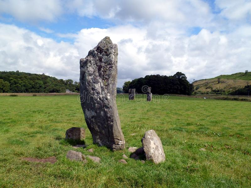 Ancient Standing Stones. Found in Kilmartin Glen, Argyll, Scotland. Ancient standing stones some dating back five thousand years. Maybe erected as a meeting royalty free stock images