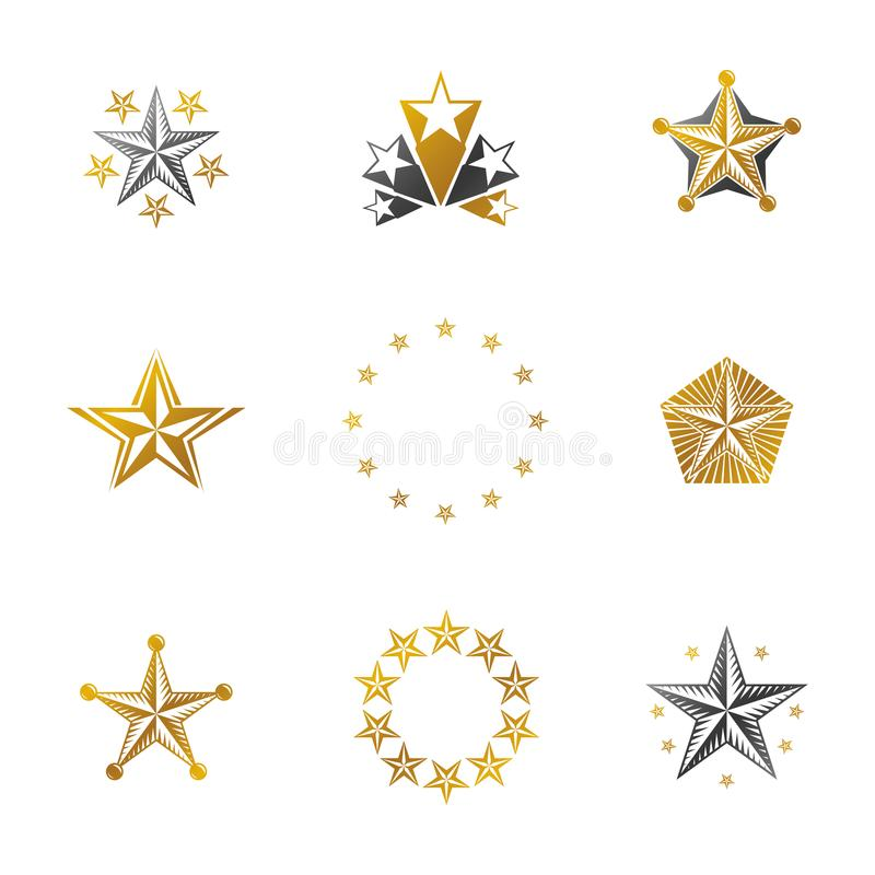 Ancient Stars emblems set. Heraldic vector design elements collection. Retro style label, heraldry logo. royalty free illustration