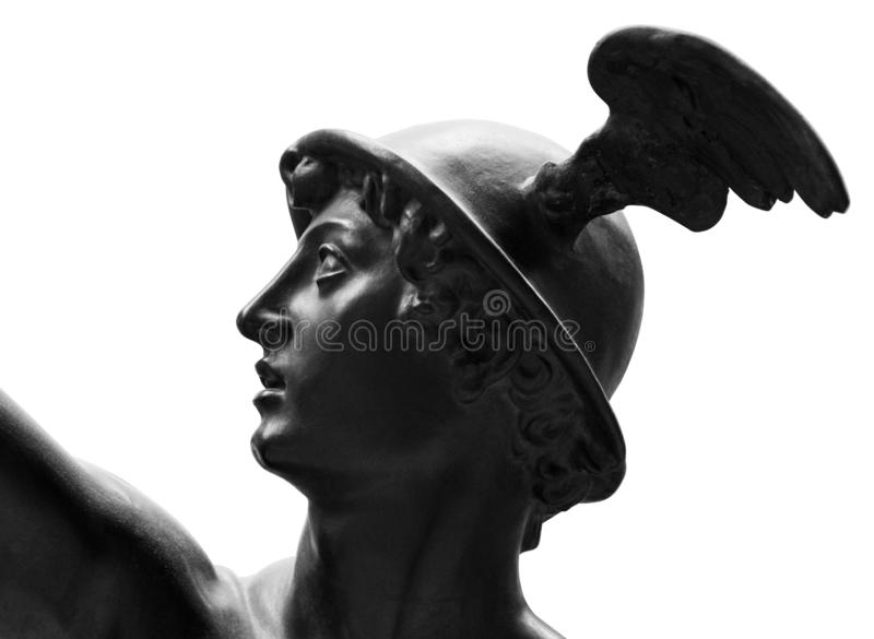 Ancient statue of the antique god of commerce, merchants and travelers Hermes - Mercury . He is alsow olympic gods royalty free stock photos