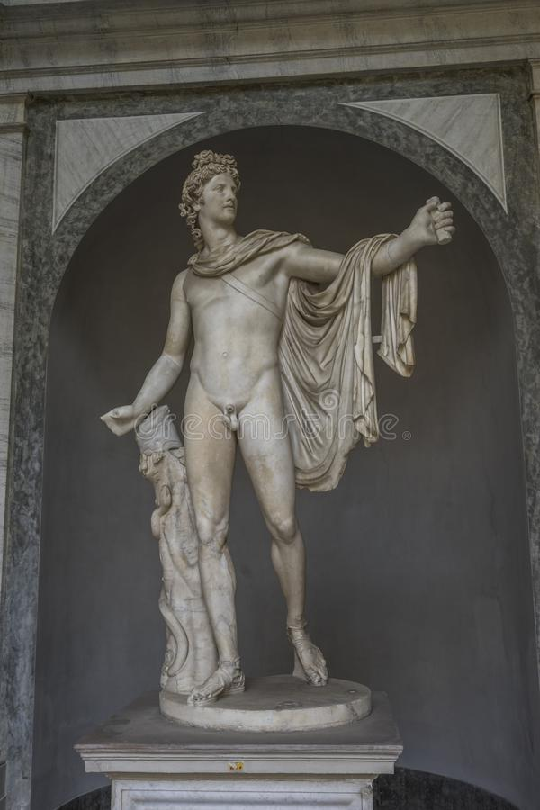 Ancient statue Apollo Belvedere in Vatican, Italy. This sculptur royalty free stock photography