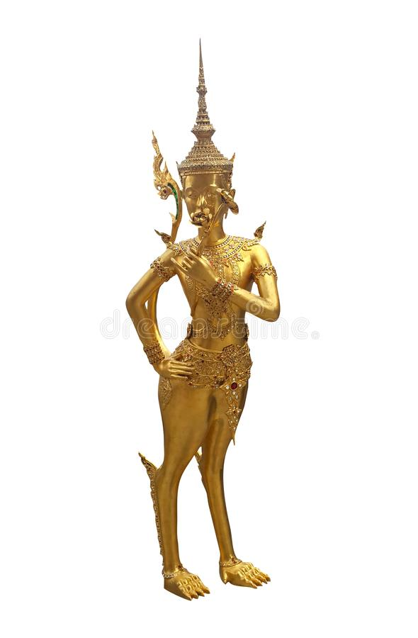 Ancient statue of golden Thai angel in a legend isolated on white background with clipping path, Thai art sculpture. stock photos