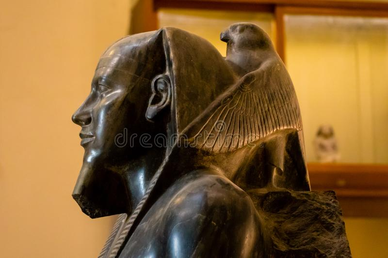 Ancient statue of Horus in the Egyptian museum, Cairo stock photo