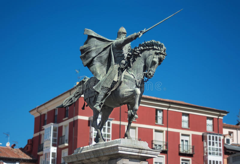 Ancient statue of medeival spanish soldier Rodrigo diaz de Vivar, El Cid in Burgos, Spain. royalty free stock photography