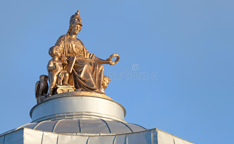 Ancient statue on the roof in St.Petersburg stock images