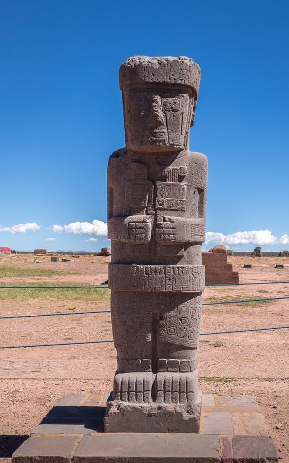 Ancient statue at Tiwanaku Tiahuanaco, Pre-Columbian archaeological site - La Paz, Bolivia stock images