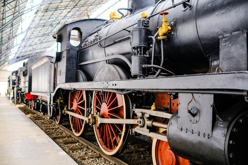 Ancient Steam train. Ancient train at the railway station in the museum `museo della scienza e della tecnica` at Milan stock photography
