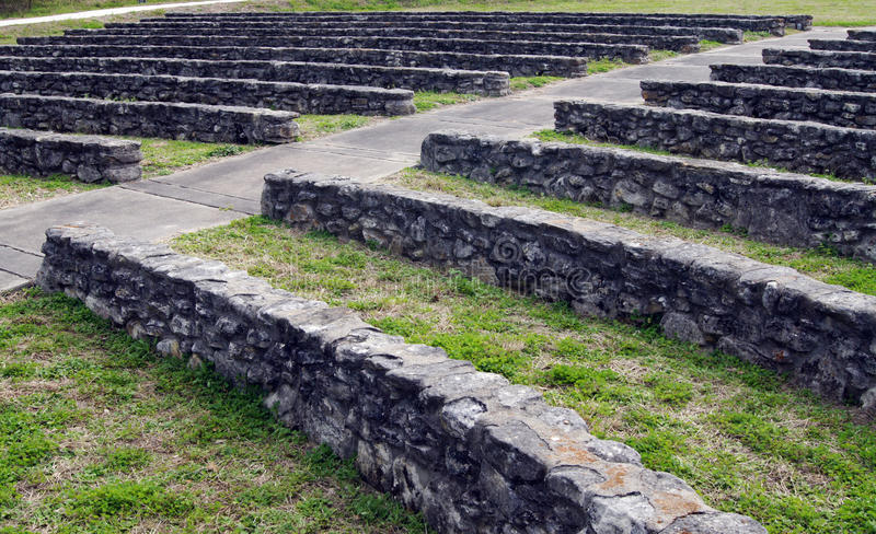 Ancient Stone Amphitheatre. Seating in an old stone amphitheatre in Goliad, Texas royalty free stock photo
