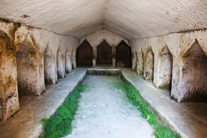 Ancient stone burial ground. With cabins for burials stock images