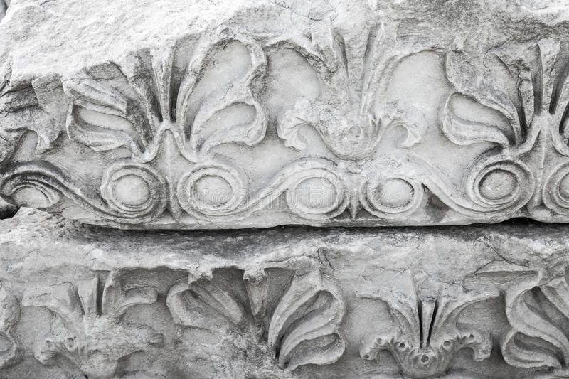 Ancient stone carving ornament, white portico royalty free stock photos
