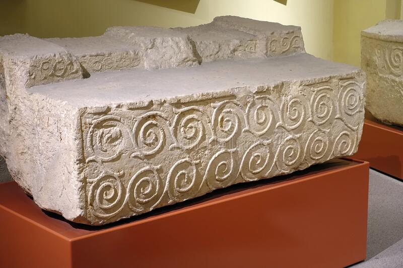 Scroll Carvings of Ancient Neolithic People of Malta royalty free stock photography