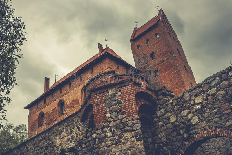 Old castle in Trakai, Lithuania. Ancient stone castle in the Lithuanian city of Trakai stock photos
