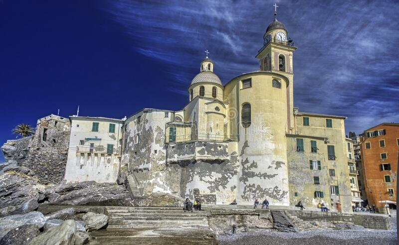 The ancient stone church at Camogli, Italy royalty free stock photo