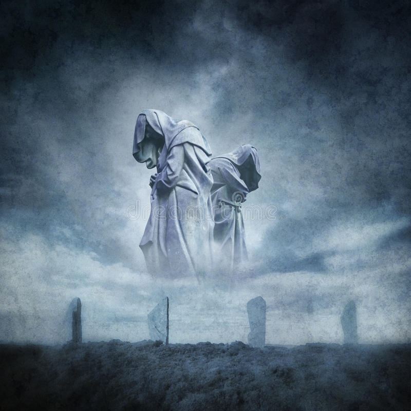 Ancient Stone Circle Ritual. Stone circle ritual with two hooded figures materialising above an ancient megalithic monument against a dark, atmospheric stormy stock photos