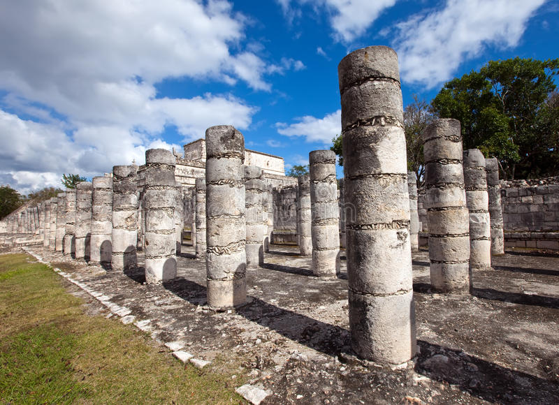 Ancient Stone Pillars : Ancient stone columns ichen itza mexico stock image