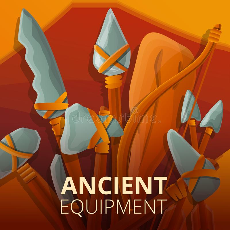 Ancient stone equipment concept background, cartoon style vector illustration
