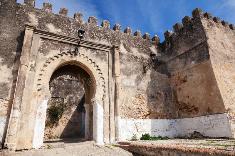 Ancient stone fortress in Madina. Tangier, Morocco royalty free stock image