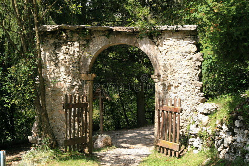 Ancient stone gate stock images