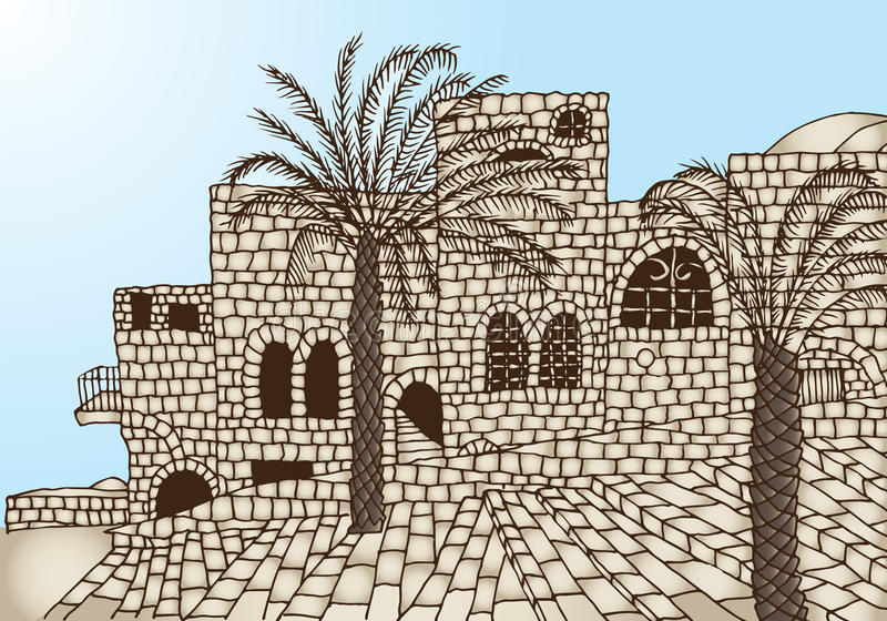 Ancient stone houses. Staircases, palm trees vector illustration