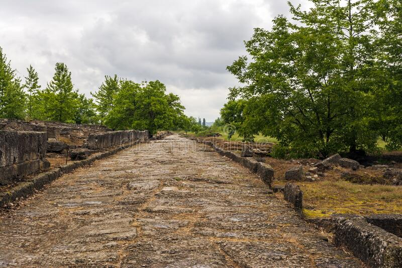 Ancient stone path and ruins in Dion, Greece. Ancient stone path and ruins in Dion site, Greece stock image