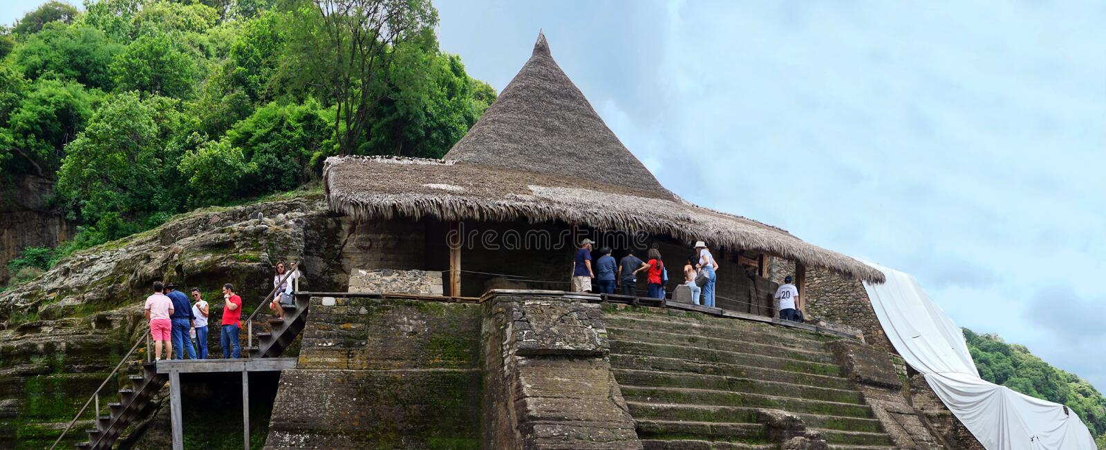 Tourist in Malinalco pyramids royalty free stock images