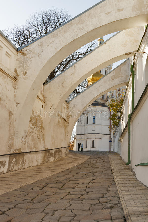 Ancient stone road to Uspensky cathedral in Kiev-P stock photography