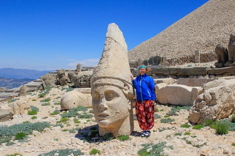 Ancient stone sculptures of kings and animals on Mount Nemrut Nemrut Dag. Monumental tomb made for Antiochus, Adiyaman, Turkey royalty free stock photography