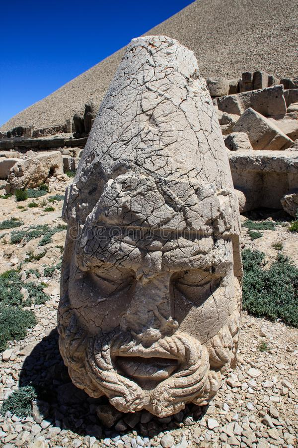 Ancient stone sculptures of kings and animals on Mount Nemrut Nemrut Dag. Monumental tomb made for Antiochus, Adiyaman, Turkey stock image