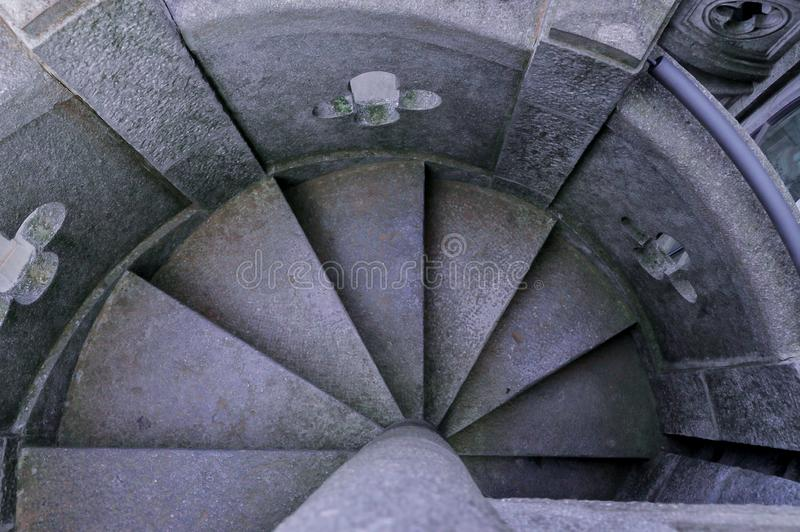 Ancient stone spiral-shaped stairs, edited photograph. royalty free stock photography