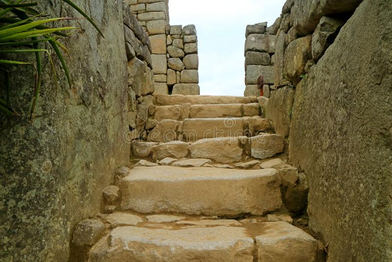 Ancient Stone Staircase to the Upper Zone Inside Machu Picchu Archaeological Site, Cusco Region, Peru royalty free stock photography