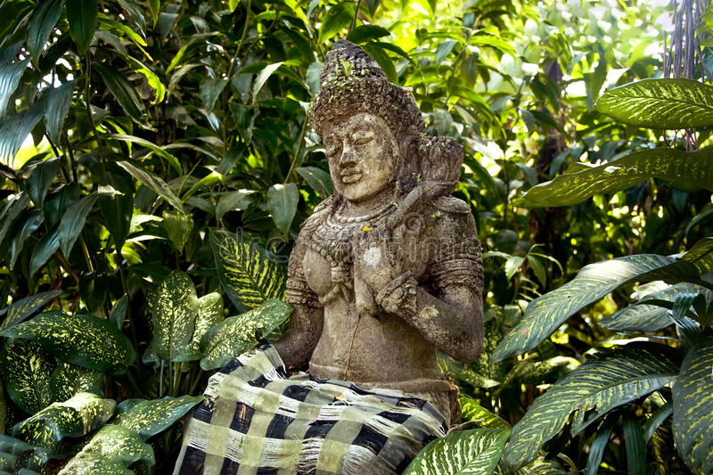 Ancient stone statue of an ancient deity on the island of Bali in a tropical forest among the trees on a Sunny day stock images