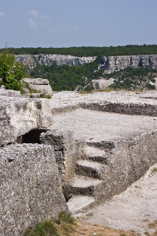 Free Ancient Stone Steps On Chufut-Kale Plateau Royalty Free Stock Image - 17559096