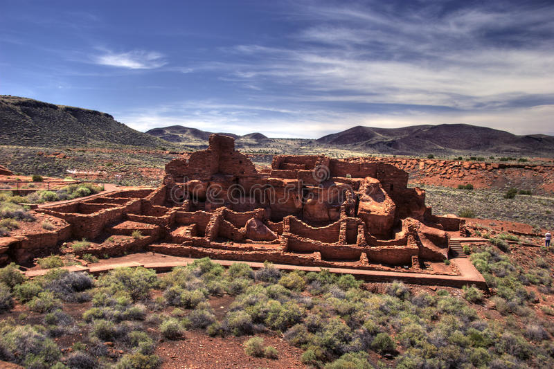 Ancient stone structure, Wupatki Pueblo stock photo