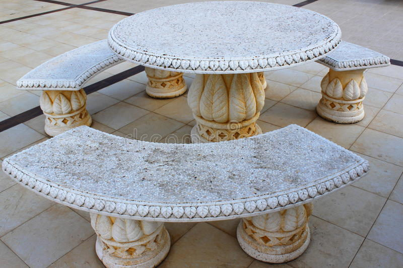 Download Ancient Stone Table And Benches Stock Image - Image of pattern, white: 33717253