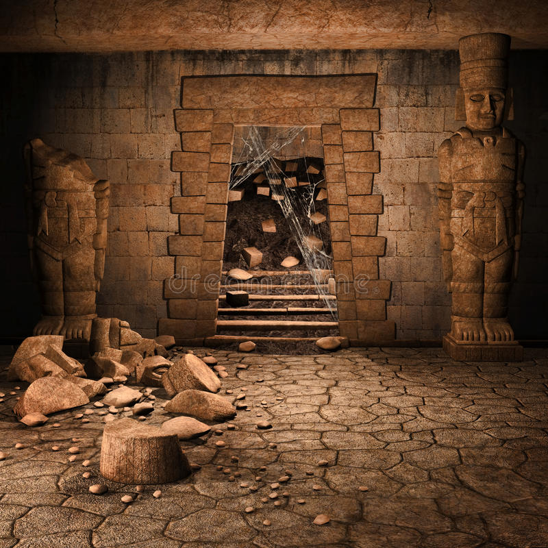 Ancient stone temple vector illustration