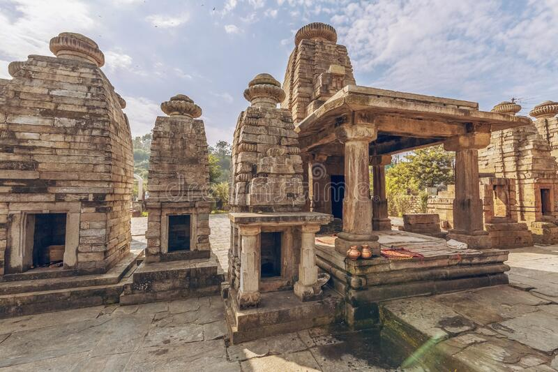 Ancient stone temples ruins of Baijnath at Bageshwar district of Uttarakhand India. Ancient stone temples of Baijnath at Bageshwar district of Uttarakhand India stock photo