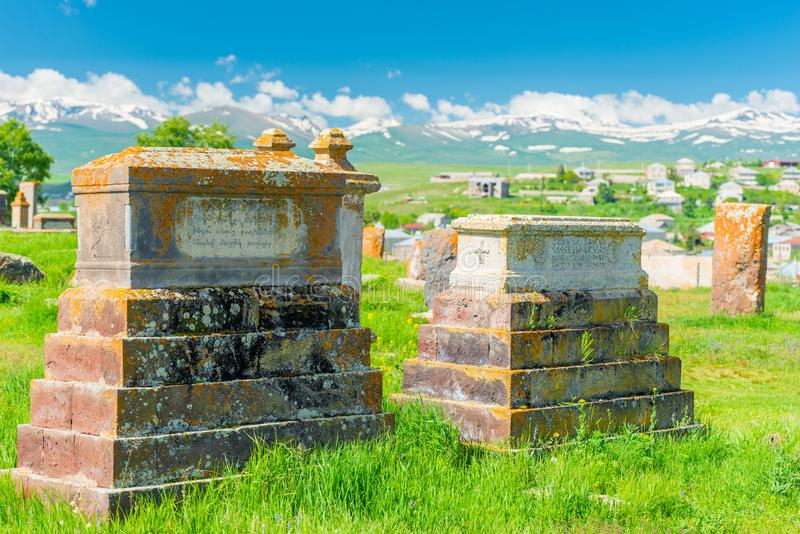 Ancient stone tombstones in Noratus cemetery royalty free stock images