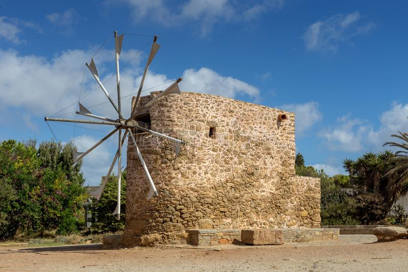 Ancient stone windmills Lassithi area, island Crete, Greece. Ancient, historic, famous, dilapidated stone windmills on a sunny day Lassithi area, island Crete stock images