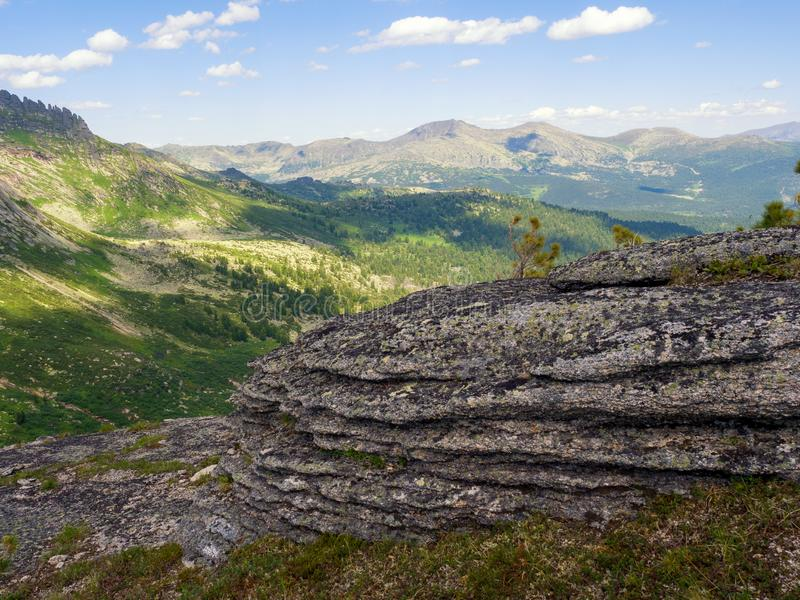 Ancient stones in the Siberian natural park Ergaki. Mountains Western Sayan stock images