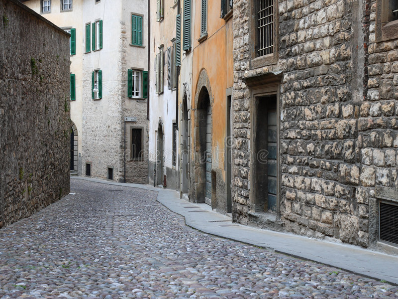 Download Ancient street in  Italy stock photo. Image of gray, paved - 5428358